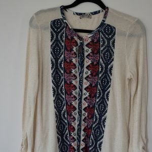 Womens Lucky Brand button front top white M